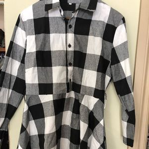 2/$40-Button up black and white shirt dress.